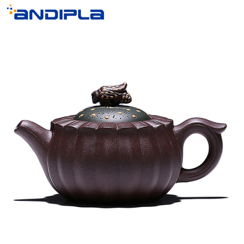 Tetera Yixing auténtica de 150ml, tetera con flores, Bud Bee Pot Master hecha a mano, tetera de arcilla púrpura, juego de té chino Vintage