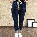 Mais Mulheres do Tamanho 5XL Calça Jeans Capris Haren Calça Casual das Mulheres Calças de Brim Elásticas Mulher Solta Calça Jeans Harém Cor Natural