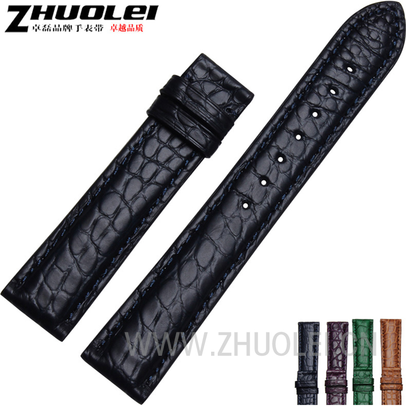 New arrivals Dark blue |Black|Brown|Purple Genuine Alligator watchband for watch straps 14mm 16mm 18mm 20mm 22mm russell athletic повседневные брюки