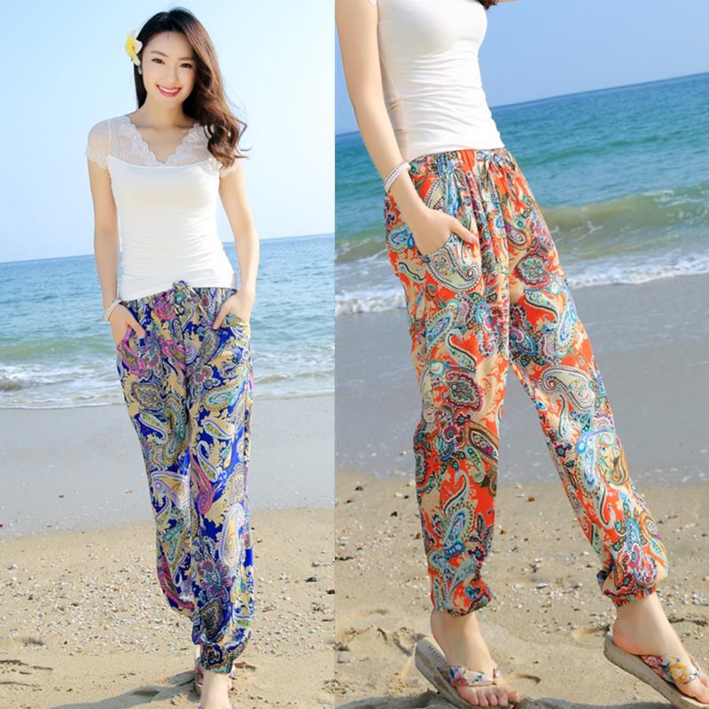 Letní tenký tisk pláž kalhoty ženy 2019 nové jarní kalhoty národní trend ženské volné ležérní kalhoty blooming dospívající dívky