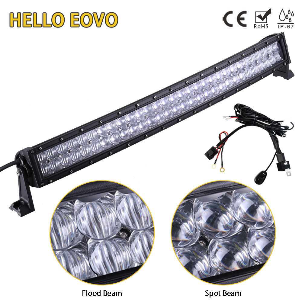 HELLO EOVO 5D 32 inch Curved LED Bar LED Light Bar for Driving Offroad Boat Car Tractor Truck 4x4 SUV ATV with Switch Wiring Kit auxbeam 54 312w 5d cree led light bar combo curved offroad led bar 2pcs 60w 5 led driving light for jeep truck atv suv