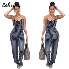 Echoine New Blue Bodycon Backless Bow Strap Jumpsuits Women Sexy Party Clubwear Casual Overalls Jumpsuit Plus Size XXL