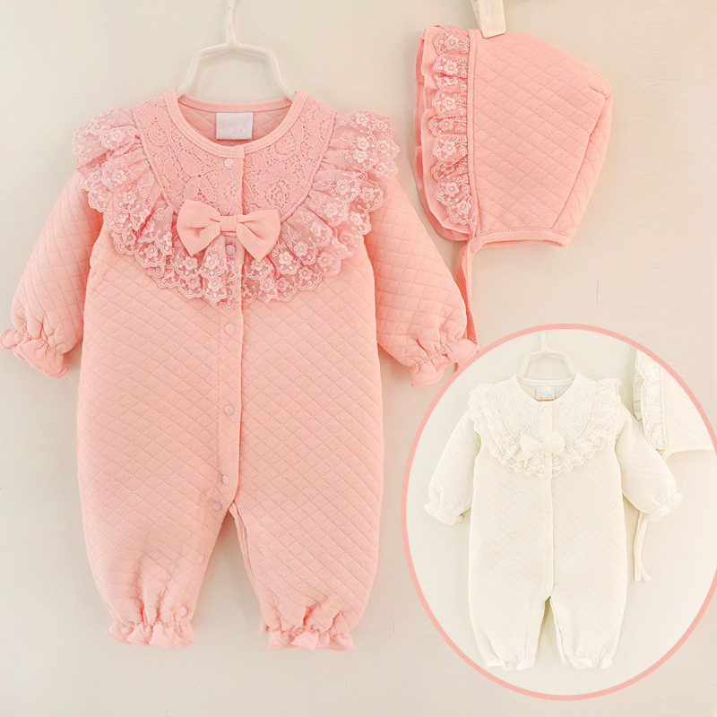 Lace Newborn Baby Girl Clothes Cotton Winter Thicken Coveralls Rompers Princess Bow Girls Clothing Set Jumpsuit + Hats 2 pcs lot newborn baby girls clothing set cute pink cotton baby rompers boys jumpsuit roupas de infantil overalls coveralls