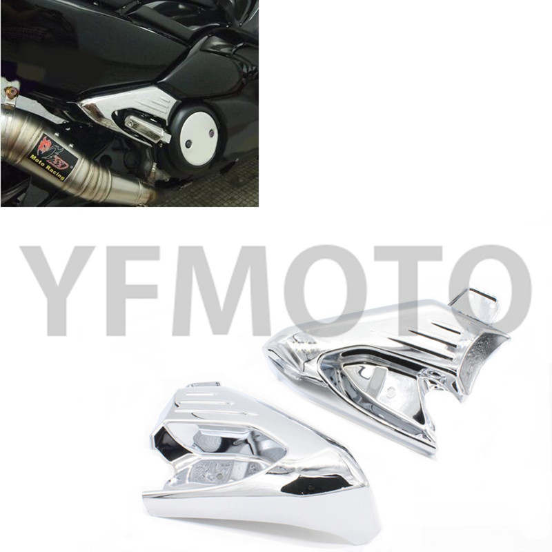 ФОТО Hot Sale Chrome Motorcycle Rear Foot Rest Foot Pegs Protector Cover Guard For TMAX500 TMAX 500 2008-2013 09 10 11 12