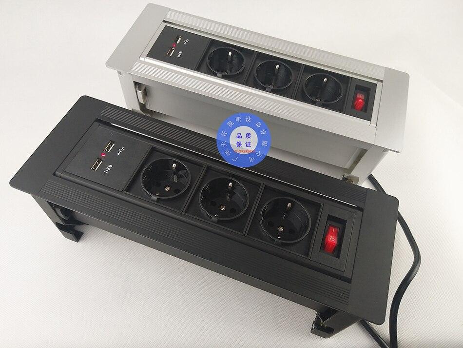 NOVO plug UE tomada de Desktop/escondido rotação manual/Móvel de carga USB tomada de carregamento do desktop/Pode escolher a função módulo/10 pcs