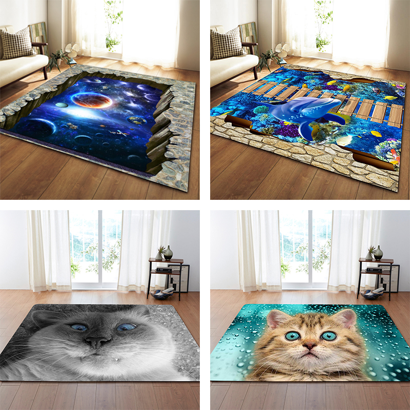Nordic 3D Printed Large Carpets Galaxy Space Cat Mat Soft Flannel Area Rugs Anti slip Rug
