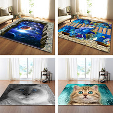 Nordic 3D Printed Large Carpets Galaxy Space Cat Mat Soft Flannel Area Rugs Anti-slip Rug for Living Room Home Decor Parlor(China)