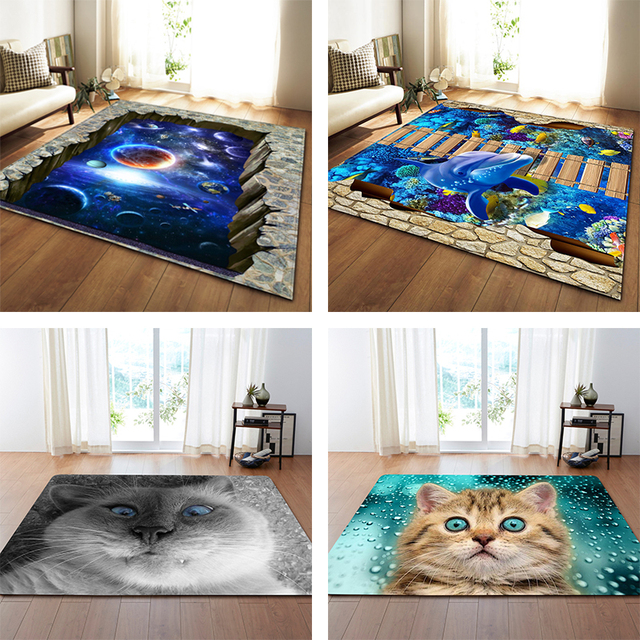 $ US $26.95 Nordic 3D Printed Large Carpets Galaxy Space Cat Mat Soft Flannel Area Rugs Anti-slip Rug for Living Room Home Decor Parlor