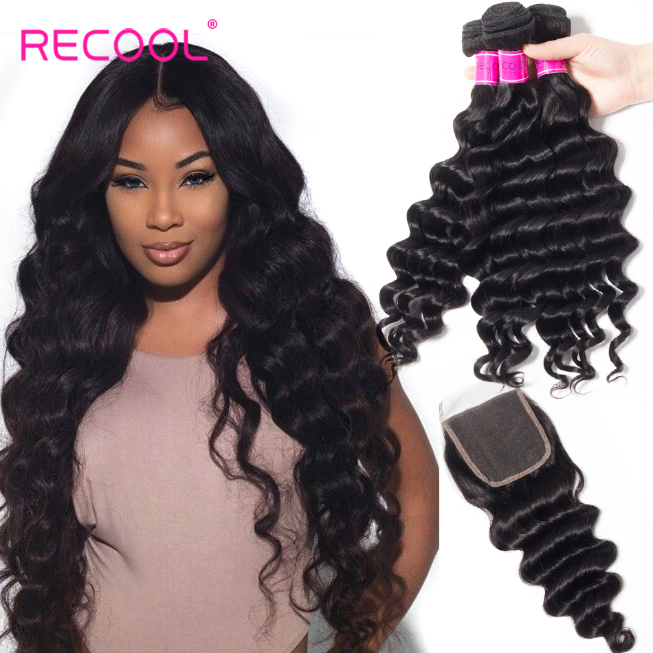 HTB1zsWgFnJYBeNjy1zeq6yhzVXac Recool Hair Loose Deep Wave Bundles With Closure Remy Brazilian Hair Bundles With Closure Human Hair Weave Bundle With Closure