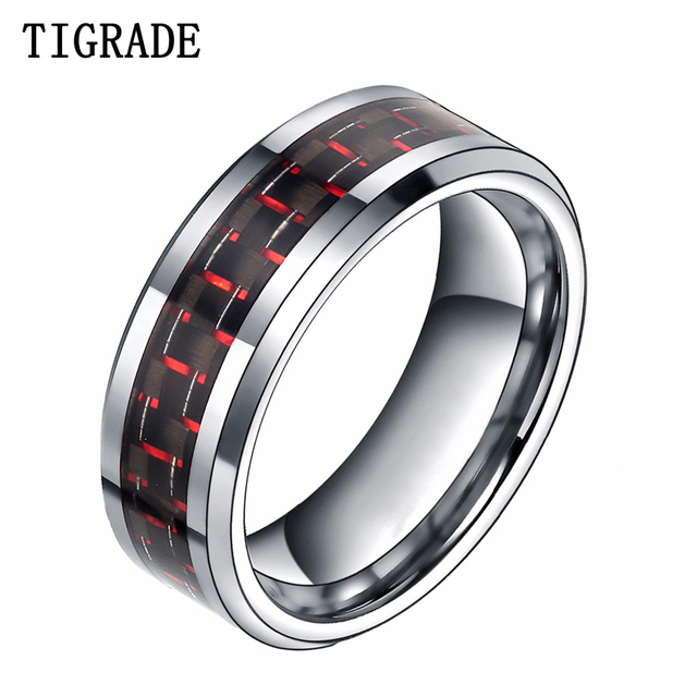 8mm Red Black Carbon Fiber Inlay Mens Tungsten Ring Comfort Fit Wedding Band Male Jewelry For