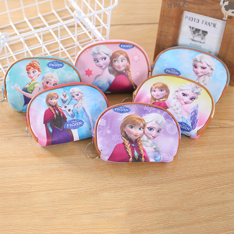 Disney Princess New Girl Coin Purse Frozen Elsa Anna Women Girls Elliptical Key Coin Purse Cartoon Money Bag Wallet