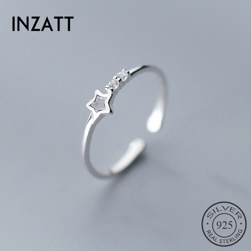 INZATT Genuine 925 Sterling Silver Romantic Ring For Trendy Women Cute Hollow Zircon Star Fashion Jewelry Valentine's Day Gift