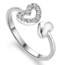XIYANIKE 925 Sterling Silver biżuteria AAA otwarta podwójna miłość cyrkon pierścienie dla partii kobiet regulowany pierścień Anillos Bague VRS2125