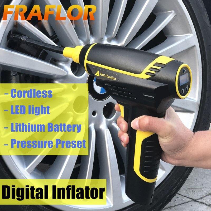 Rechargeable Car Air Pump Portable Handheld Car Tyre Inflator Pump Electric Inflating Pump Digital Wireless Smart