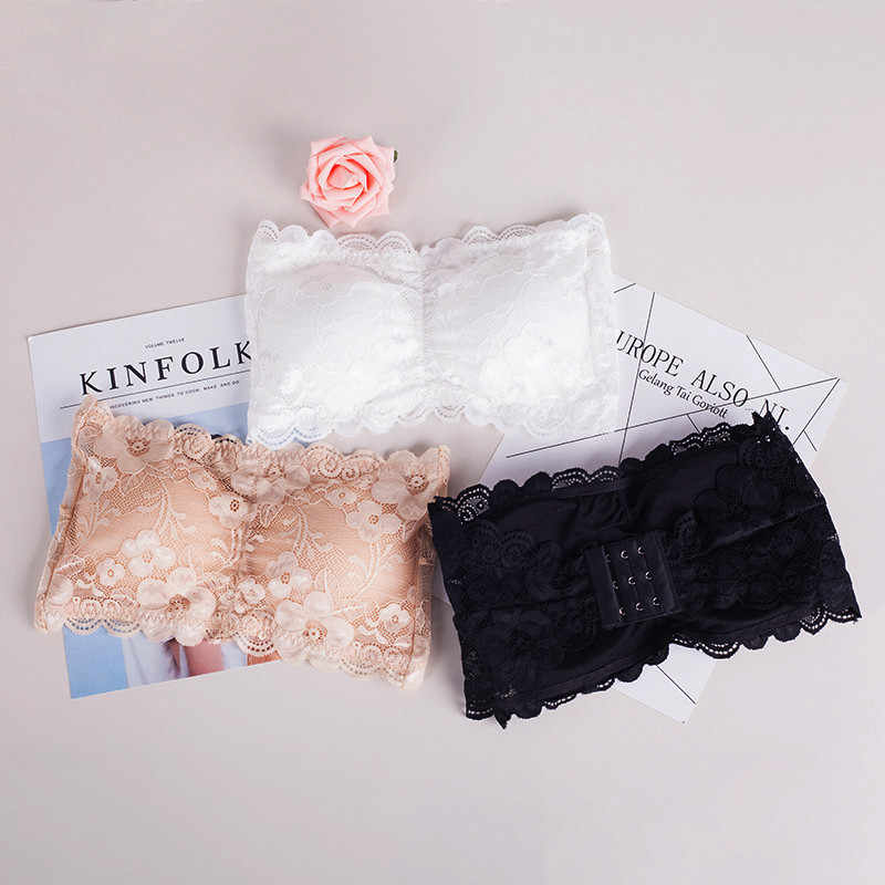b516efb9e1fda ... New Summer Lace Bandeau Bra Padded Strapless Bralette Crop Top Boho  Sexy Push Up Cropped Bra ...