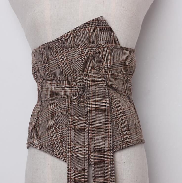 Women's Runway Fashion Plaid Wide Bow Cummerbunds Female Vintage Checked Dress Corsets Waistband Belts Decoration Wide Belt R910