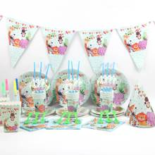 140Pcs\Lot Animal Theme Birthday Party Decorations Kids Disposable Tableware Girls Boys Supplies