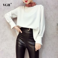VGH 2018 Chiffon Women S Fashion Blouses Irregular Lace Up Patchwork Stand Collar Batwing Sleeve Female