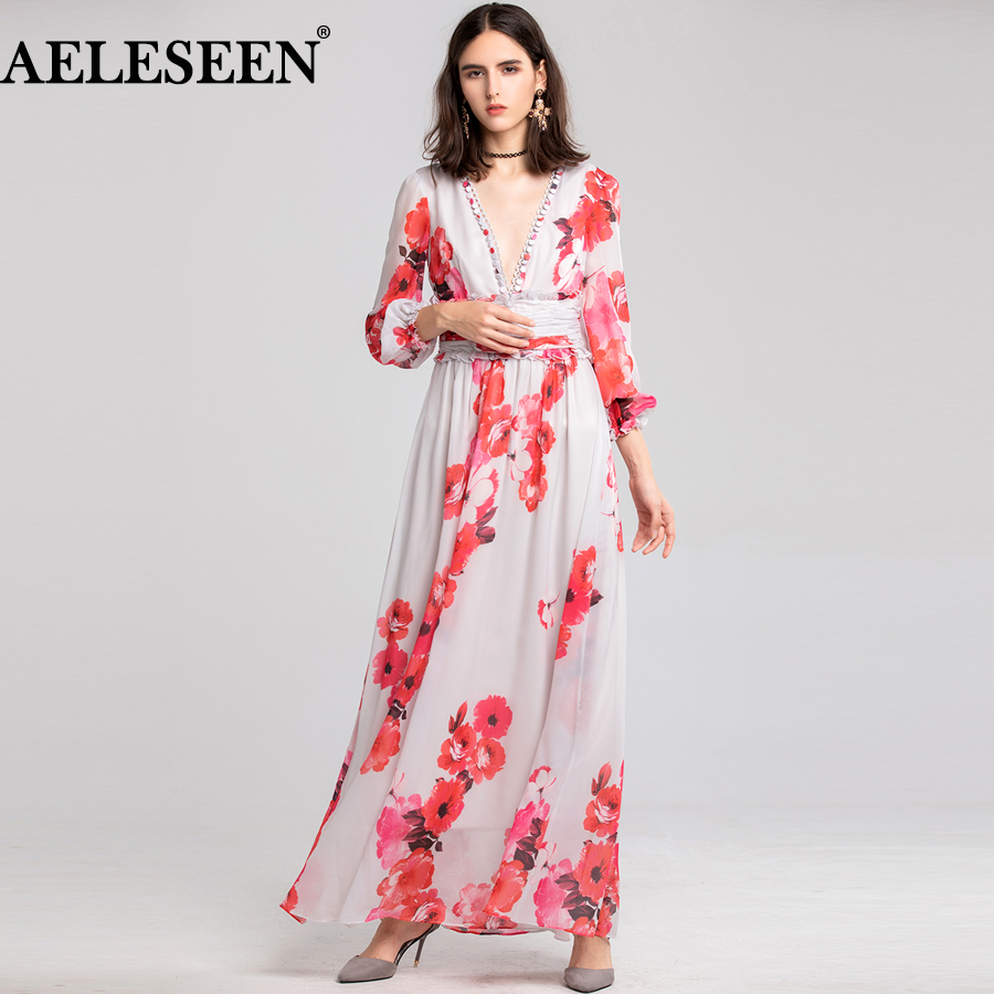 AELESEEN Designer Runway Beach Dress 2019 Spring V Neck Autumn Dress Floral Long Dress Femme Boho