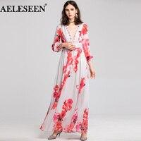 AELESEEN Designer Runway Beach Dress 2019 Spring V Neck Autumn Dress Floral Long Dress Femme Boho Style Sequins Sexy Vestido XXL