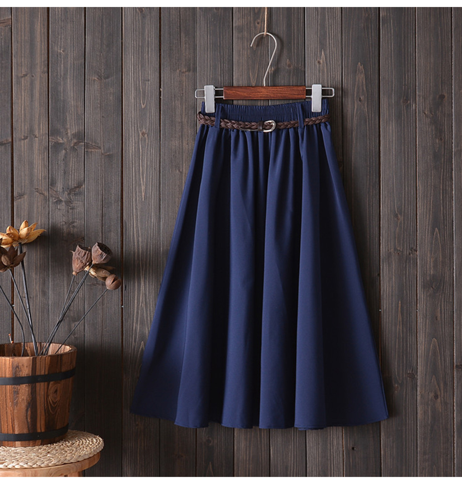 Surmiitro Midi Knee Length Summer Skirt Women With Belt 19 Fashion Korean Ladies High Waist Pleated A-line School Skirt Female 4