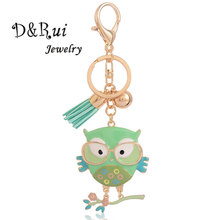 Owl Key Chain With Glasses Trendy Classic Enamel Zinc Alloy Chains for Women&Girl Cute Bird chain Charm Fashion Jewelry
