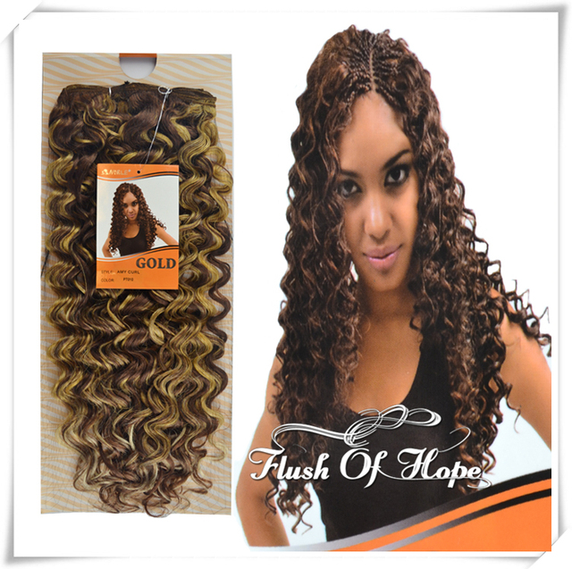 22 Inch Noble Gold Premium Synthetic Hair Weaving Weft Amy Curl