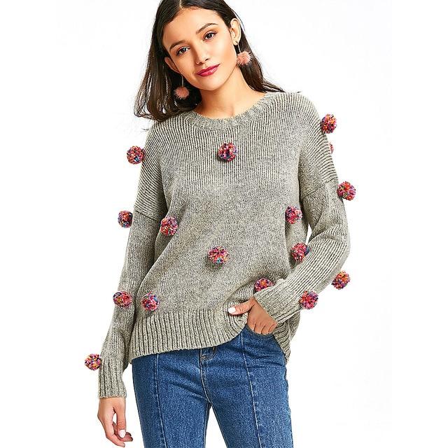 ZAFUL 2018 New Autumn Winter Women Pom pom Sweater Fashion pompom Soft Knitted  Sweaters Long Sleeve 101e137b2e0f