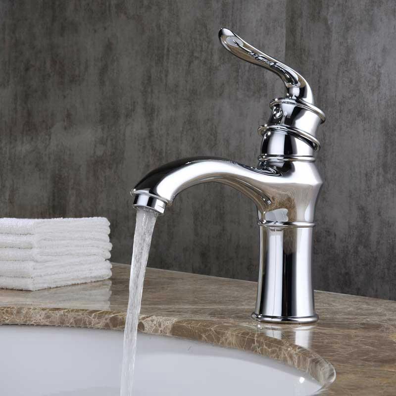 Robinet de cuisine moderne poli Type eau froide et chaude robinet de cuisine européen argent Chrome céramique robinet de lavabo/robinet ak46