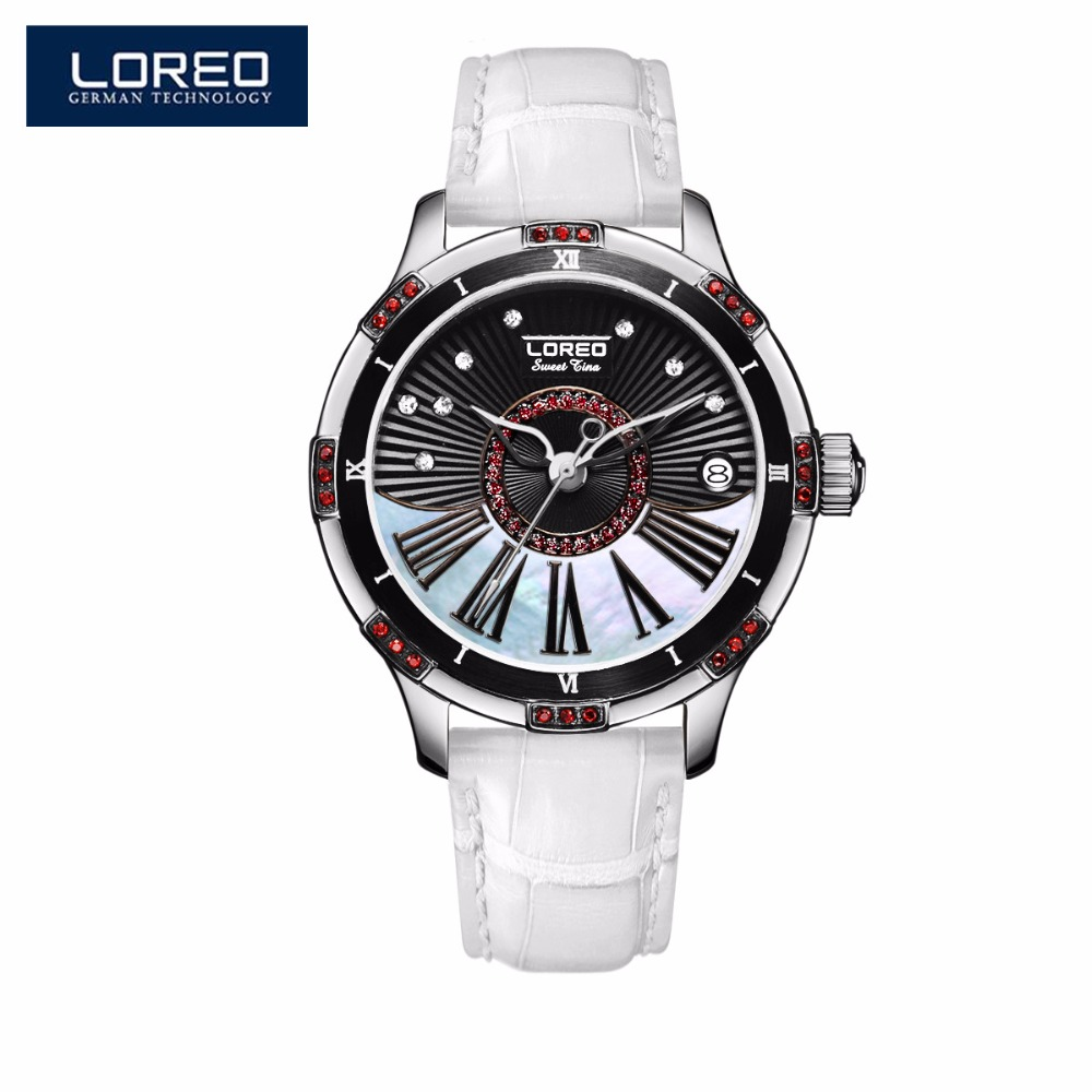 LOREO High Quality Leather Strap Women Watches Luxury Sapphire Waterproof Watch Ladies Automatic Mechanical Wrist Watches AB2066