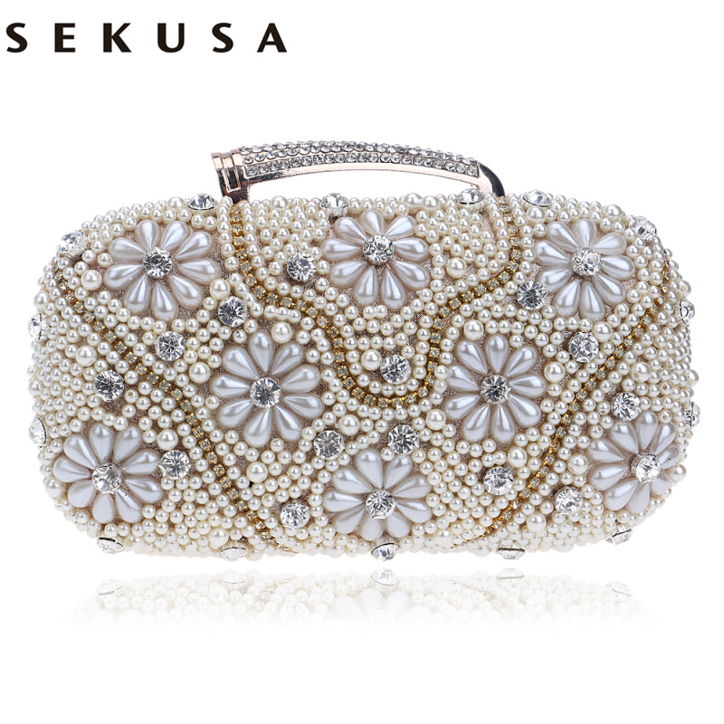 SEKUSA  Women Evening Bags Chain Shoulder Messenger Bag Beaded Rhinestones Handbags With Handle Day Clutches For Wedding sekusa flower rhinestones women handbags red black purple gold chain shoulder bags metal day clutches purse wedding wallets