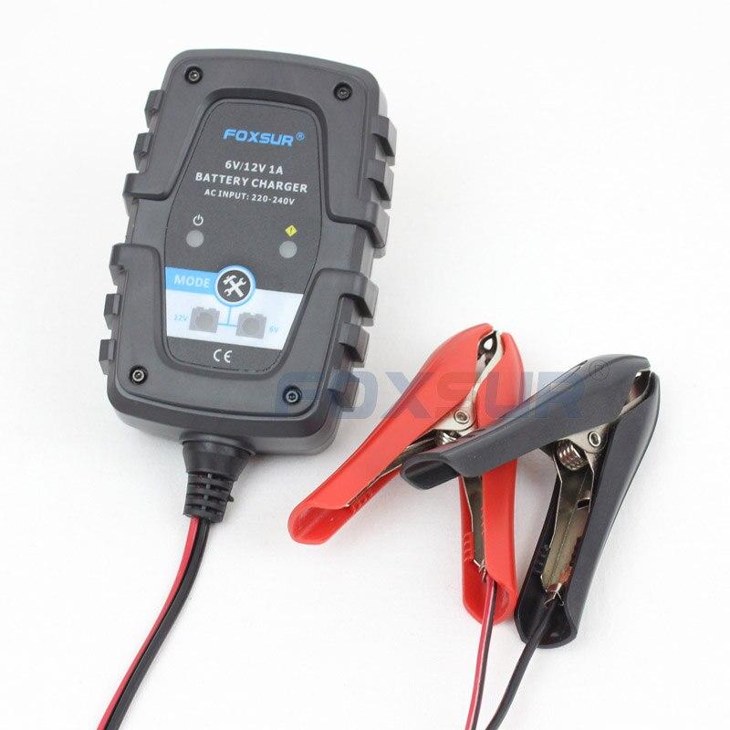 FOXSUR 6 V 12 V 1A Automatique Intelligent Batterie Chargeur Responsable pour Voiture Moto Scooter Cycle Profond AGM GEL VRLA batterie Chargeur