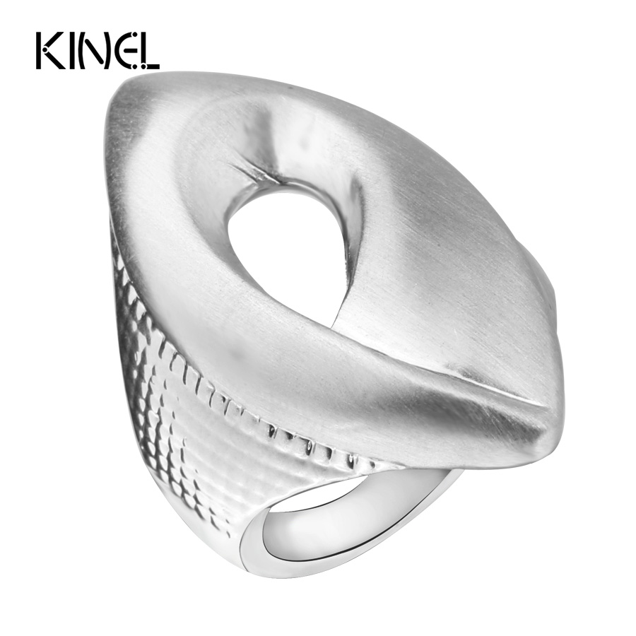 Kinel Fashion Natural Style Heavy Metal Rings For Women Silver Color Water Chestnut Punk Rock Women's Ring Jewelry Gift