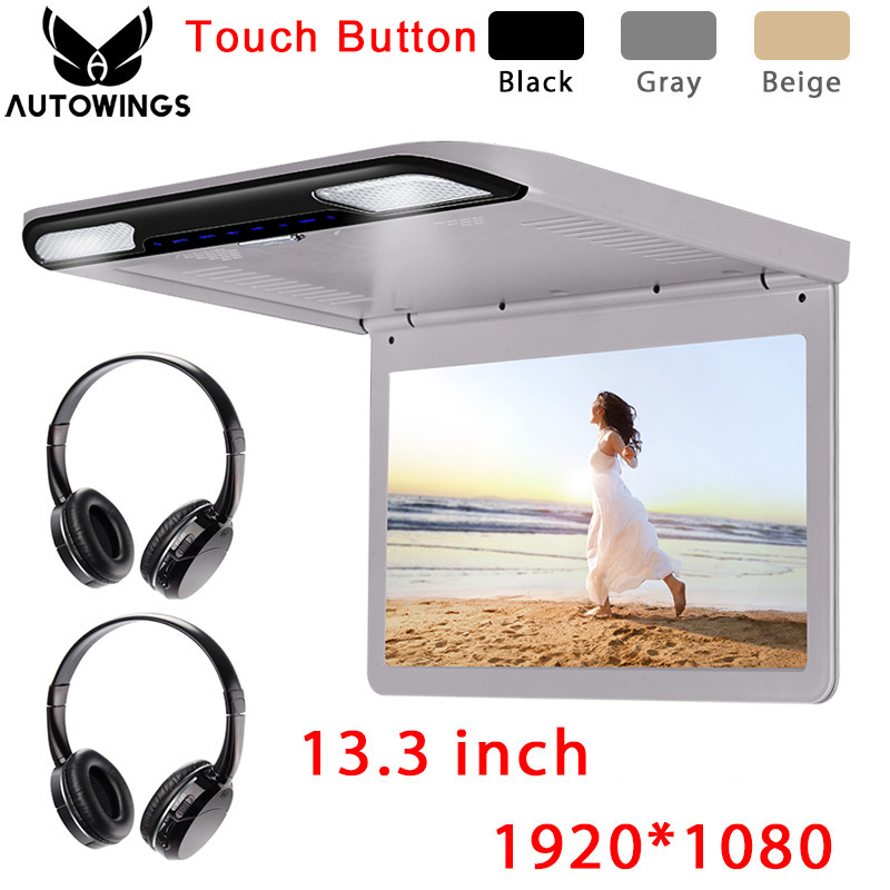 13.3 inch 1920*1080 Car Ceiling Overhead Flip Down Monitor MP5 Video Player Built-in Speaker FM HDMI SD 2 IR Wireless Headphones image