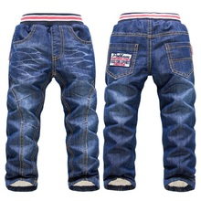 2015 Winter Children pants clothing thick Warm Cashmere Jeans for boys girls Two Layers kids cloths Trousers size 3-7 y