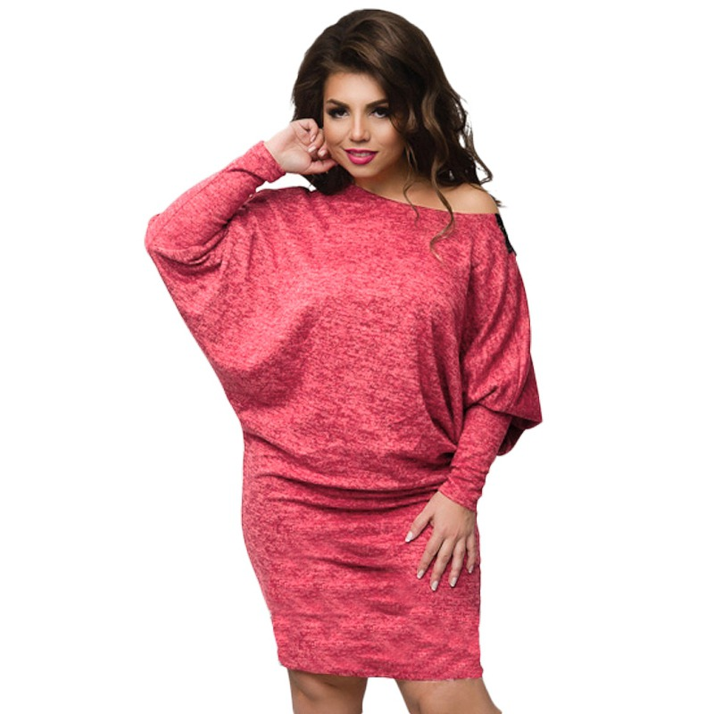 Now Women Plus Size Dress Sleeve Batwing Knitted Lace Dress Bodycon Sexy Women's Vestidos plus size double pockets knitted dress