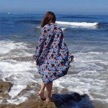 купить Boho 2019 Spring Summer Floral Loose Casual Kimono Sleeve Beach Top Open Front Maxi Kimono Chiffon Shirt Blouse Beach Women по цене 906.63 рублей