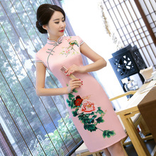 Pink Traditional Chinese Short Sleeve Peony Print Cheongsam Spring Vintage Women Casual Dress Sexy Slim Knee-Length Qipao