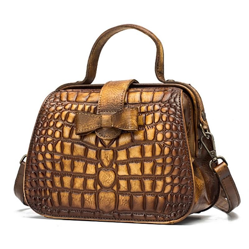 Nouveau femmes Messenger sacs à bandoulière bandoulière motif Crocodile sac à main en cuir véritable petit fourre-tout sac à main Vintage Top poignée sac - 2