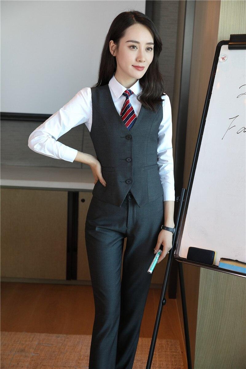 Avec Uniforme Noir Gilet Ensembles Costumes Gris Bureau Et Dames Pantalon Un Styles Femmes 3 ardoisé D'affaires Wear Blazer Formelle Work Pièce Veste xC44Xwqa