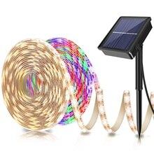 שמש מופעל 5M 150LED רצועת אור SMD2835 גמיש תאורת סרט קלטת 8 מצבי Waterproof LED רצועת תאורה אחורית גן דקור