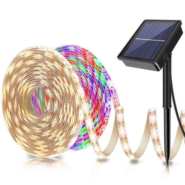 Tira de luz LED alimentada por energía Solar, 5M, 150LED, SMD2835, cinta de iluminación Flexible, 8 modos, impermeable, luz de fondo, decoración de jardín