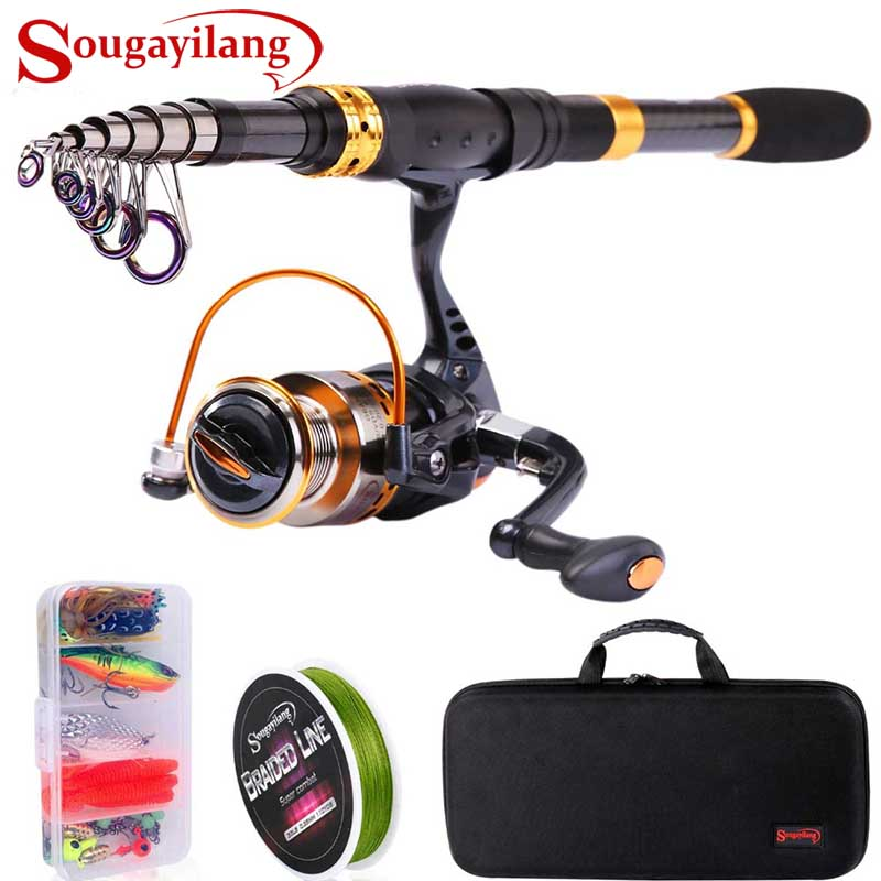 Sougayilang Telescopic Fishing Rod Reel Combos Fishing Pole Spinning Reels Fishing Carrier Bag Lure line Sets