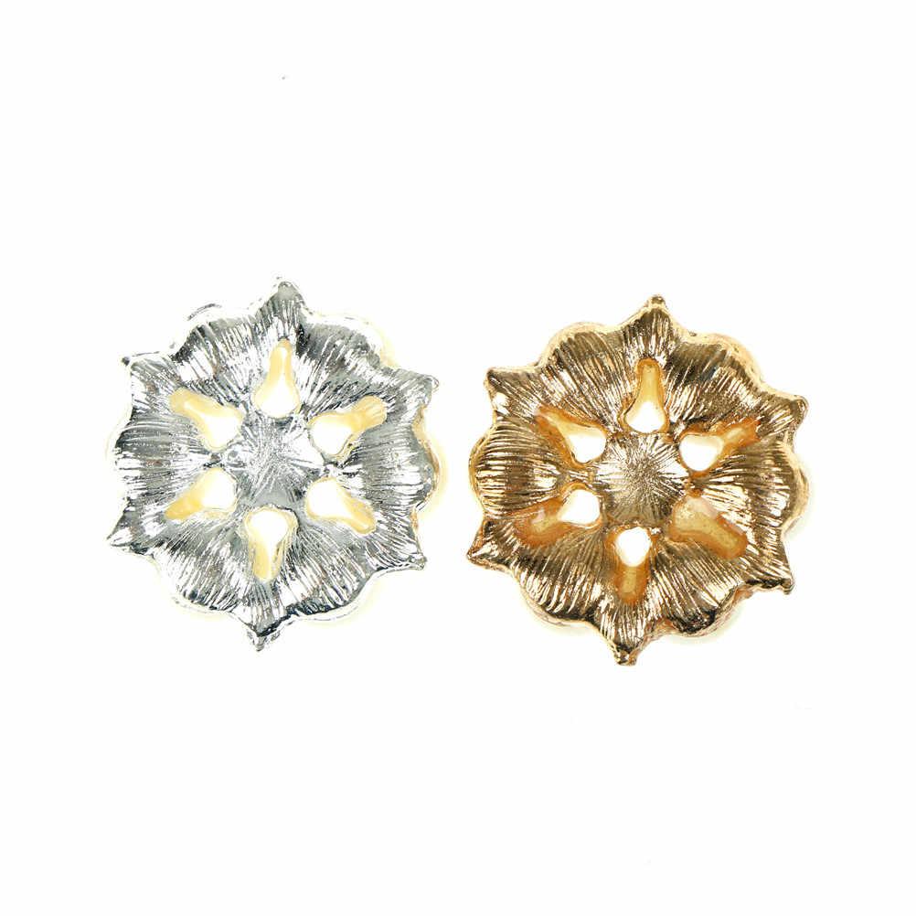 5Pc/set Craft Pearl Crystal Rhinestone Buttons Flower Round Cluster Flatback Wedding Embellishment Jewelry Craft