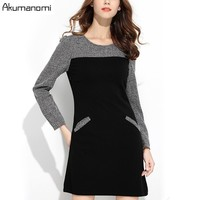 Spring Dress Patchwork Panelled Full Sleeve Insert Pocket Women's Clothes Autumn Dress Fashion Plus Size 5XL 4XL 3XL 2XL XL