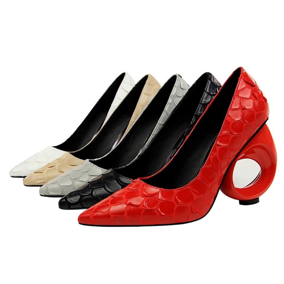 De Creux Noir Bouche Bout Femmes Profonde À gris Talons Ronde blanc nude Peu Mode Pompes Serpent Hauts rouge Pointu Chaussures Motif Avec 8g0qwz