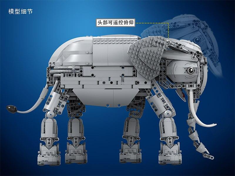 Vencedor 7107 Técnica Criadores 1542pcs Criativo Elefante Controle Remoto RC Elétrico Animais Blocos de Construção de brinquedos para Crianças - 4