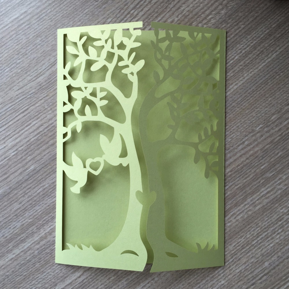 30pcs Dark Green Laser Cut Tree Hollow Marriage Wedding Invitations