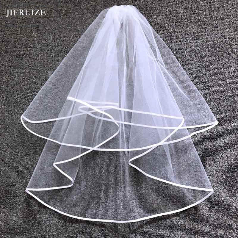 JIERUIZE Ribbon Edge Cheap Wedding Veils With Comb Two Layers Simple Short Bridal Veil Wedding Accessories