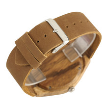 Hand Made Natural Retro Wooden Watches Table Double Wood Grain Circle Literal Genuine Leather Fresh Quartz Watch for Men Women
